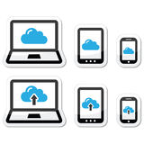 Cloud network on laptop, tablet, smartphone icons set Royalty Free Stock Photos