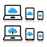Cloud network on laptop, tablet, smartphone icons set Stock Photography