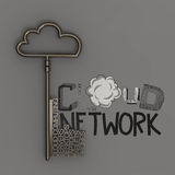 CLOUD NETWORK  with metallic cloud and the key Royalty Free Stock Photos