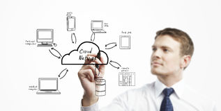 Cloud network model Stock Images