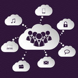 Cloud network representation with speech bubbles Royalty Free Stock Image