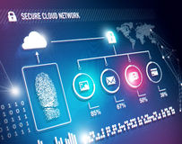 Cloud network security. Online cloud network security concept with fingerprint and content Stock Images