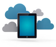 Cloud network and the tablet pc. Stock Photography