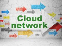 Cloud networking concept: arrow with Cloud Network on grunge wall background. Cloud networking concept:  arrow with Cloud Network on grunge textured concrete Stock Photo