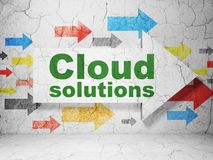 Cloud networking concept: arrow with Cloud Solutions on grunge wall background. Cloud networking concept:  arrow with Cloud Solutions on grunge textured concrete Stock Photography