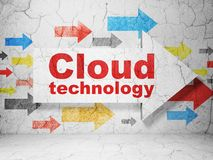 Cloud networking concept: arrow with Cloud Technology on grunge wall background. Cloud networking concept:  arrow with Cloud Technology on grunge textured Stock Images
