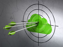 Cloud networking concept: arrows in Cloud target. Success cloud networking concept: arrows hitting the center of Green Cloud target on wall background, 3d render Royalty Free Stock Photography