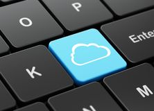 Cloud networking concept: Cloud on computer keyboard background. Cloud networking concept: computer keyboard with Cloud icon on enter button background, 3D Royalty Free Stock Images