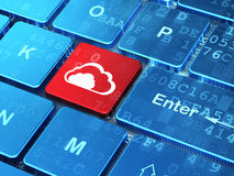 Cloud networking concept: Cloud on computer keyboard background Royalty Free Stock Photo