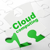 Cloud networking concept: Cloud Computing on puzzle background Royalty Free Stock Photos