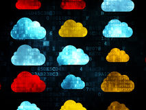Cloud networking concept: Cloud icons on Digital Royalty Free Stock Image