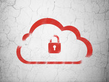 Cloud networking concept: Cloud With Padlock on wall background Stock Photography