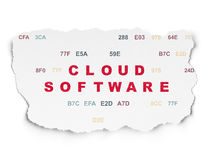 Cloud networking concept: Cloud Software on Torn Stock Photo