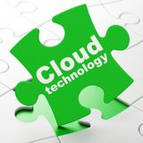 Cloud networking concept: Cloud Technology on puzzle background Stock Images