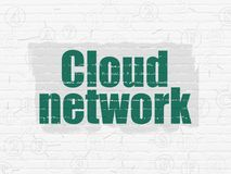 Cloud networking concept: Cloud Network on wall background. Cloud networking concept: Painted green text Cloud Network on White Brick wall background with Scheme Stock Image