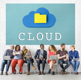 Cloud Networking Data Storage Online Technology Concept. Diverse People Cloud Networking Data Storage Online Technology stock image