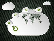 Cloud networking inspired website design with world map Stock Image
