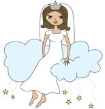 Cloud Nine. Excited Bride sitting on a cloud Royalty Free Stock Photos