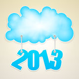 Cloud with number of new year 2013 Stock Images