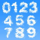 Cloud Numbers. Written with cloud letters written numbers from 0 to 9 Stock Image