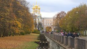 Cloud october day at the Catherine`s Park. Tsarskoye Selo. SAINT PETERSBURG, RUSSIA - OCTOBER 17, 2017: Cloud october day at the Catherine`s Park. Tsarskoye Selo stock video