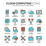 Cloud omputing. Internet technology. Online services. Data, information security. Connection. Thin line blue web icon. Set. Outline icons collection.Vector Royalty Free Stock Photo