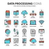 Cloud omputing. Internet technology. Online services. Data processing, information security. Connection. Thin line web. Icon set. Outline icons collection Royalty Free Stock Photo
