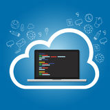 Cloud online coding repository on the cloud internet web development. Cloud online coding repository on the cloud internet web development programming line of Stock Images