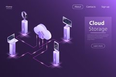 Cloud online storage flat isometric vector concept royalty free illustration