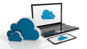 Cloud online storage icons with laptop and tablet Royalty Free Stock Images