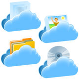 Cloud Open Document Communication Set Stock Photos