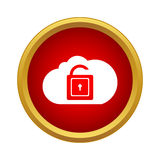 Cloud with opened padlock icon, simple style Royalty Free Stock Photography