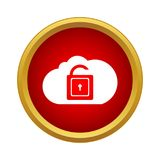 Cloud with opened padlock icon, simple style royalty free illustration