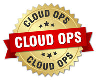 Cloud ops round gold badge Royalty Free Stock Photo
