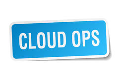 Cloud ops square sticker Royalty Free Stock Images