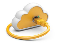 Cloud with a orange network plug. 3d illustration on a white bac Stock Photography
