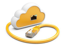 Cloud with a orange network plug. 3d illustration on a white bac Royalty Free Stock Image
