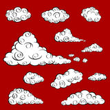 Cloud Oriental Vector. A set of white cloud in oriental design Royalty Free Stock Image