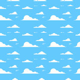Cloud Over Blue Background Sky Seamless Pattern Stock Images