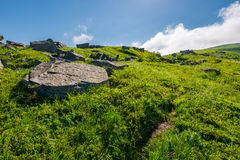 Cloud over the grassy hillside with rocks. Path uphill in to the sky. lovely summer scenery. tacking and hiking activity background Royalty Free Stock Image
