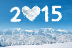 2015 cloud over mountain frozen Stock Photography