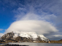 Cloud over mountain, Lofoten Islands, Norway Royalty Free Stock Photo