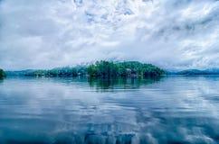 Cloud over mountains on lake santeetlah north carolina Royalty Free Stock Image