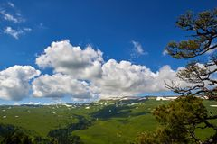The cloud over the tableland Lago-Naki, Russia Royalty Free Stock Image