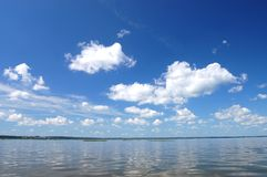 Cloud over water, lake Plesheevo, Russia Stock Photos