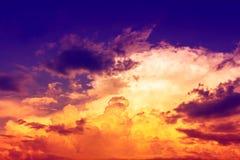 Cloud. Overcast color sky,deep blue yellow purple and orange in sunset sky Stock Photo