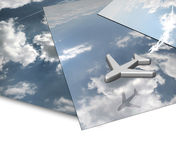 Cloud Panorama With Flying Aircraft. Conceptual composite of three overlaid photographs of clouds Stock Photo