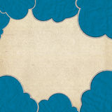 Cloud paper craft and old paper Royalty Free Stock Photo