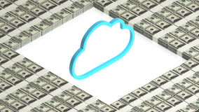 Cloud with paper dollars Stock Photos