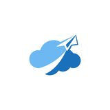 Cloud paper plane icon vector logo Stock Images